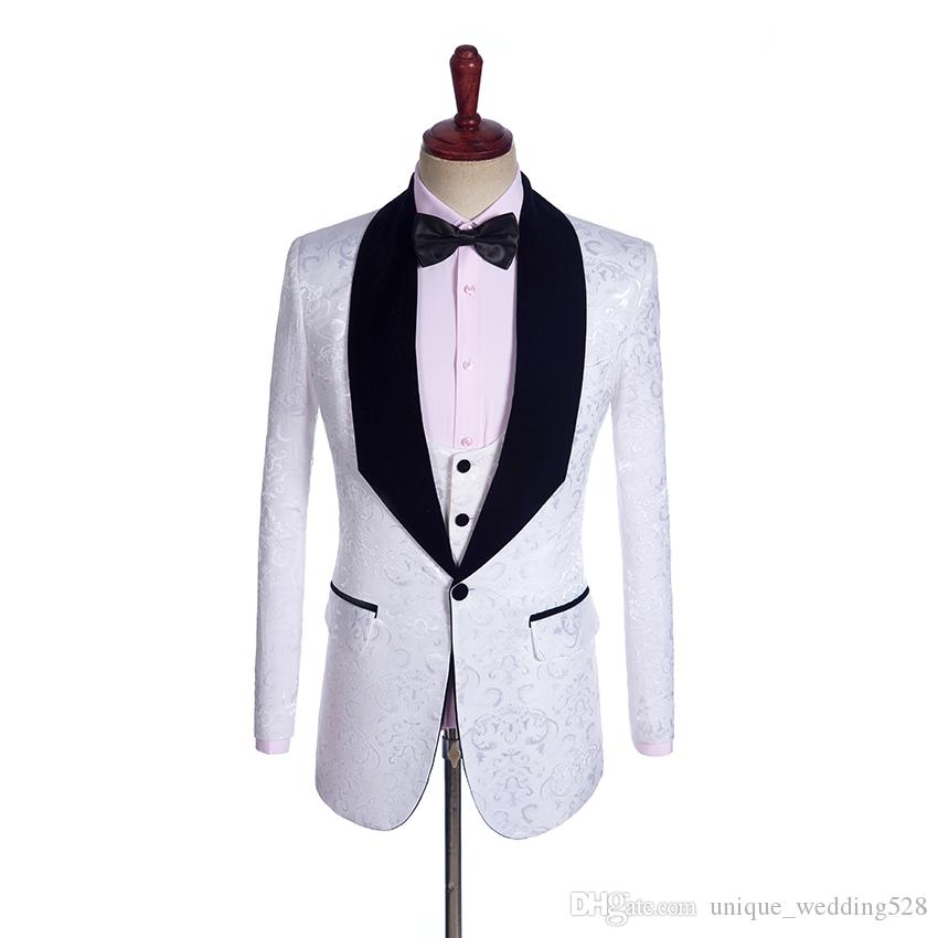 New Jacquard Groomsmen Big velet Shawl Lapel Groom Tuxedos Custom Made Men Suits Wedding Best Man Blazer Jacket+Pant+Bow Tie+Vest