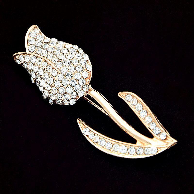 Fantastica lega oro rosa fiore spilla frizzante chiaro Diamante strass Lady spilla abbastanza delicato gioielli accessori gli uomini