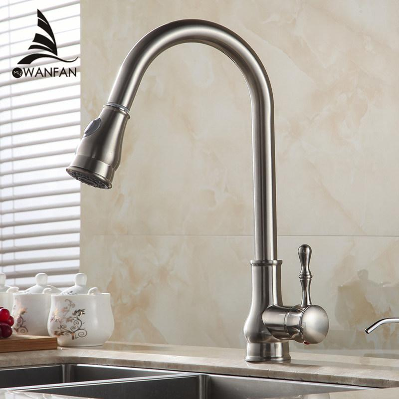 2019 Kitchen Faucet Brass Brushed Nickel High Arch Kitchen Sink