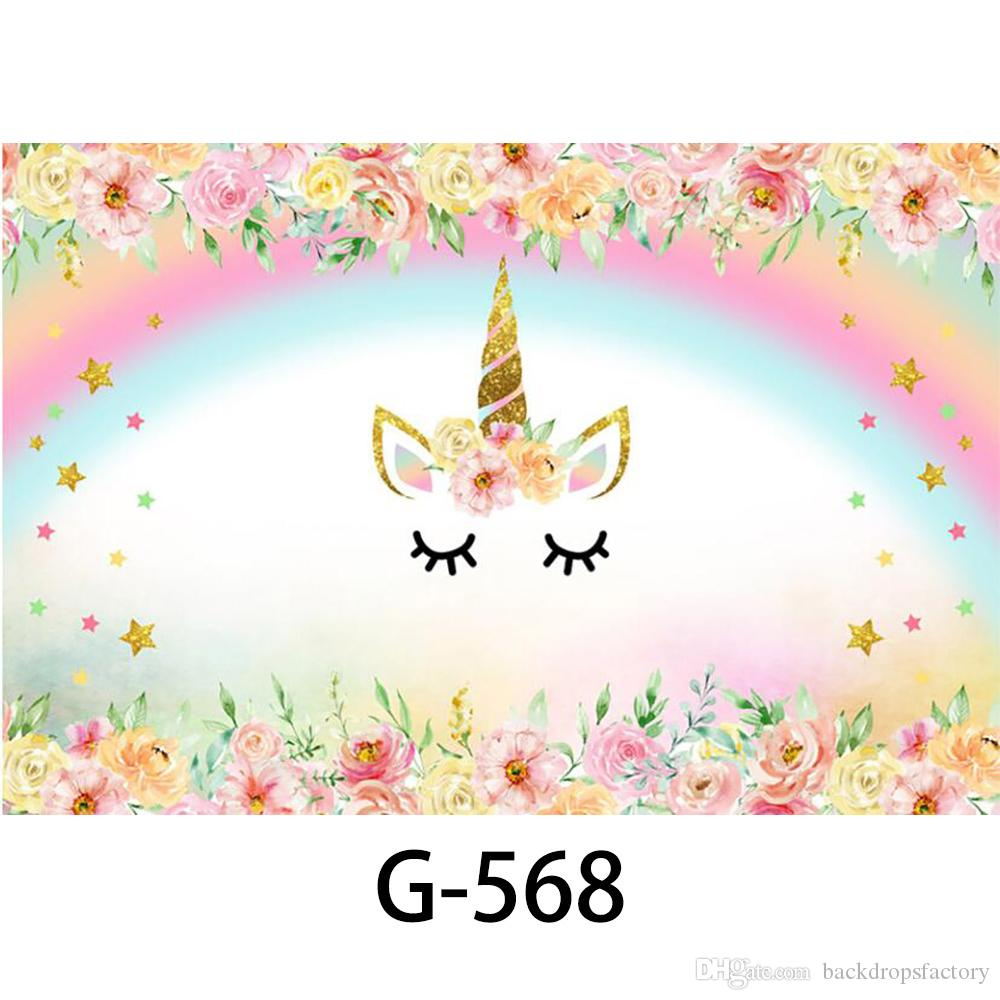 Rainbow Unicorn Backdrops Baby Shower Props Printed