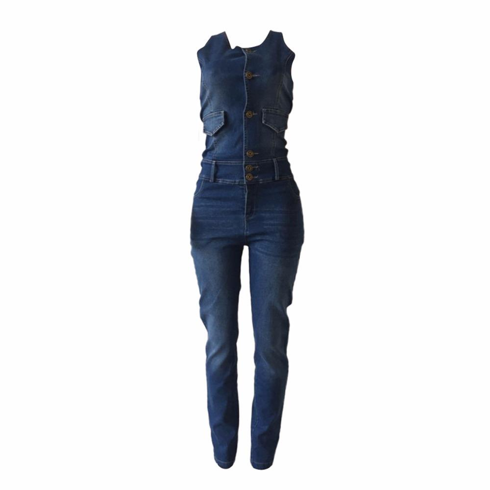 402d0533464 Fashion Women Jumpsuits Slim Casual Solid Denim Jumpsuit Sleeveless Bodycon  Romper Overalls Female Pant Sale Jumpsuit Online with  48.82 Piece on ...