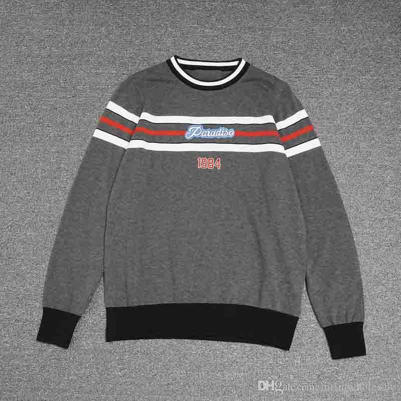 8eaa3464848 Top Quality Sweaters Luxury 1984 Red and white stripes print embroidery  Advanced workmanship Popular Crew Neck clothes black M350