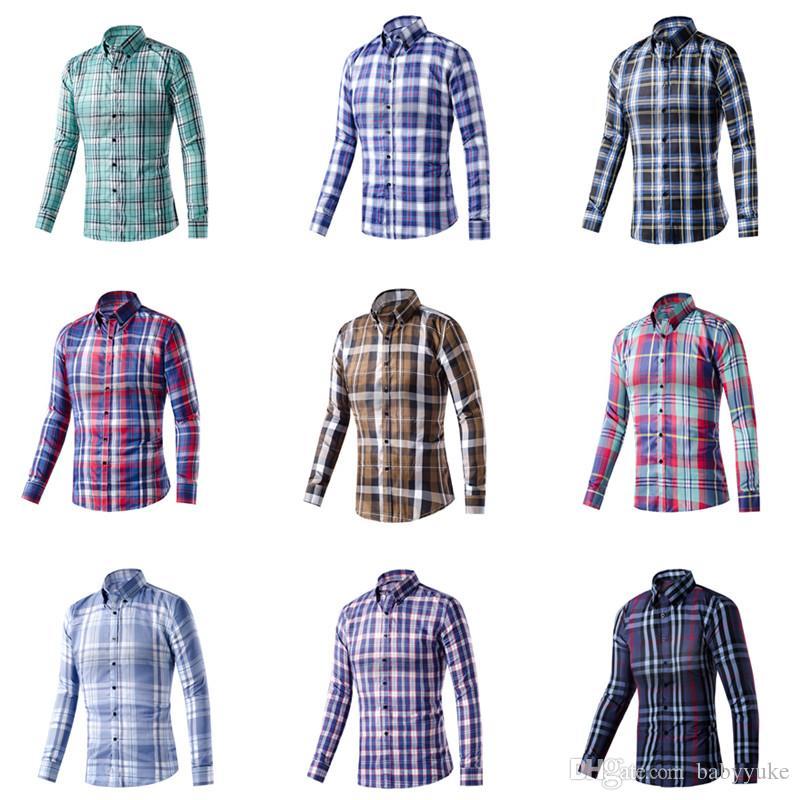 69086822a05 Compre Ropa De Hombre Venta Al Por Mayor Camisa A Cuadros Camisa De Vestir  De Los Hombres Tela Escocesa Impresa Ocasional Multicolor Entrega Al Azar  Camisa ...