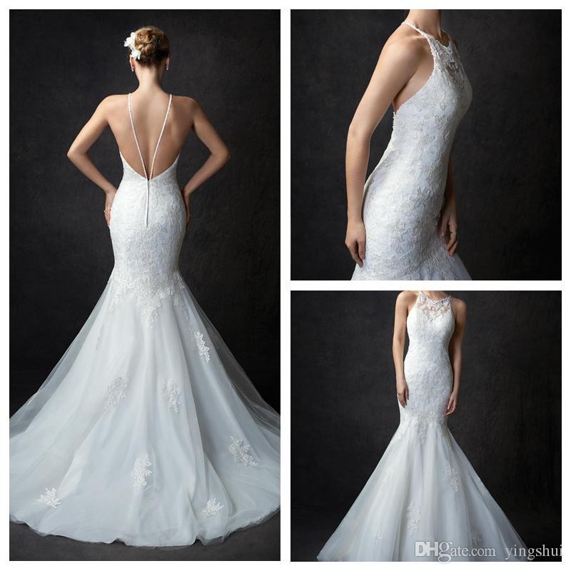 8579117697c4 Charming Halter Backless Wedding Dress Custom Made White/Ivory Tulle  Appliqued Lace Bridal Gown Mermaid Bride Dress Wedding Dress Websites Wedding  Dresses ...