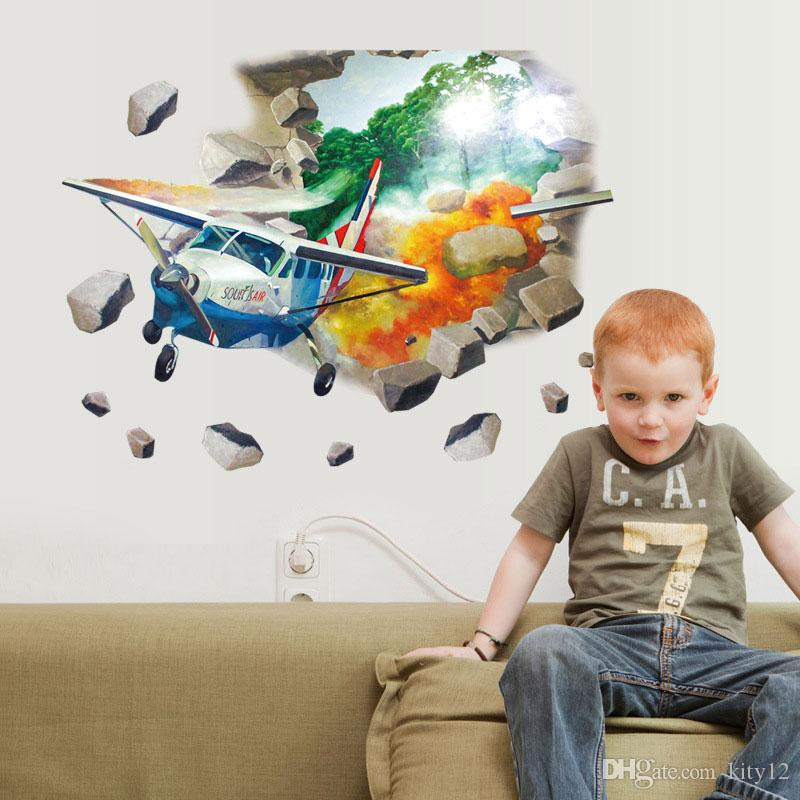 3D Airplane Baby Wall Stickers Wall Decor Art Decal Decoration Vinyl Stickers Removable Kids Wallpaper
