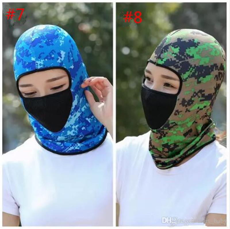 Summer Sun Caps Solid Color UV Protection Cap Outdoor Riding Full Face Mask Skull Hood Hat Active CS Outdoor Camo Sports Motorcycle Masks B1