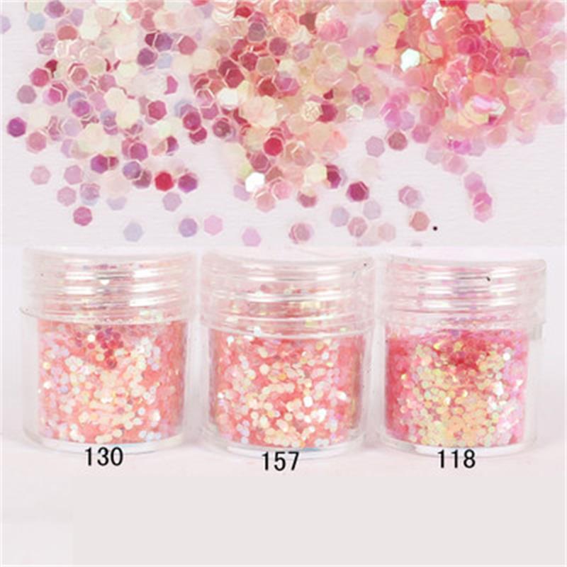 1 Box 10ml Pink Sparkles Nail Glitters Powder Mini Round Shape ...