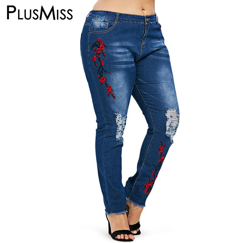 50e997c81f4 2019 Wholesale Plus Size Ripped Floral Embroidered Ankle Jeans Capris Women  Big Size Pencil Jeans Mom Hole Distressed Denim Pants 2018 From  Jinggongcoat