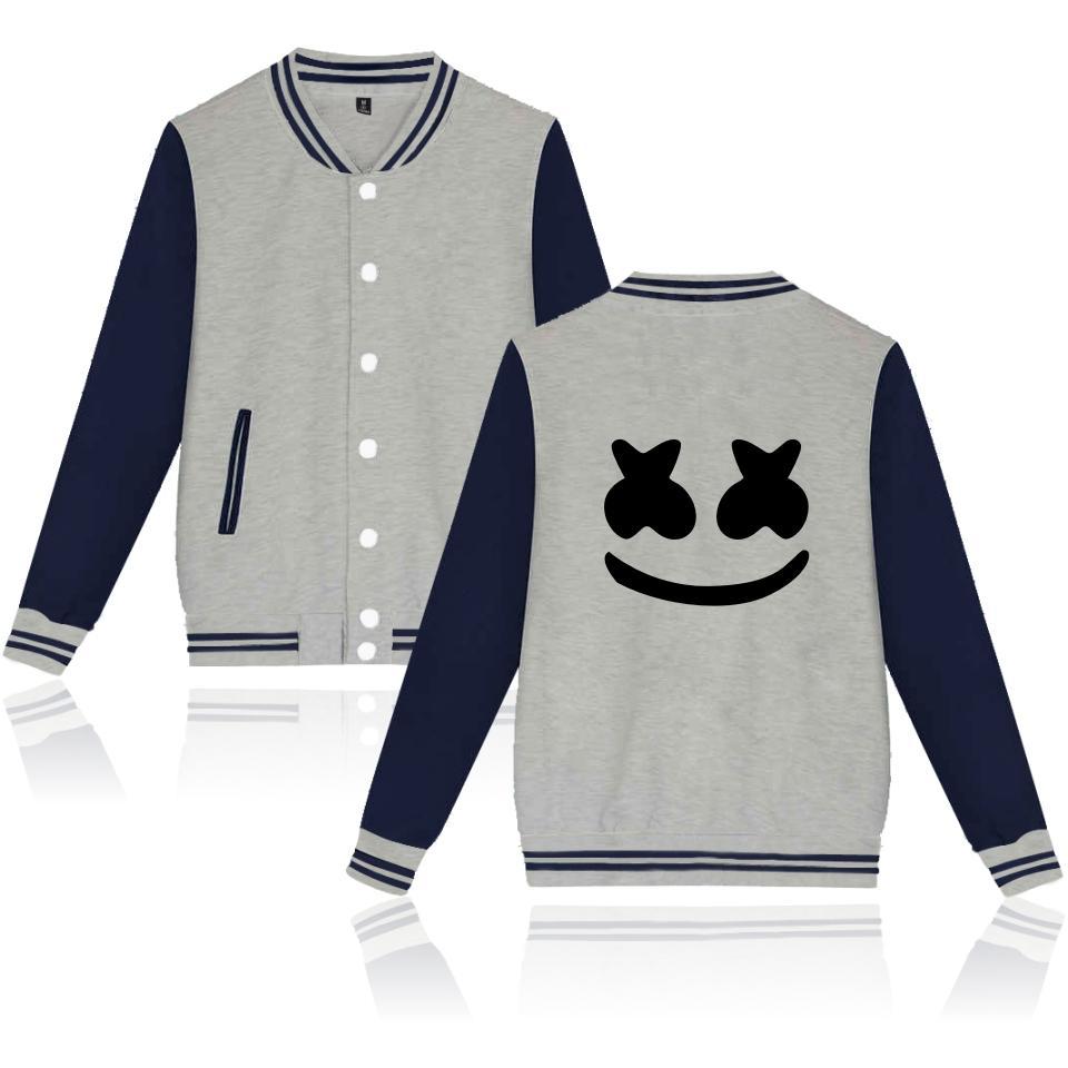 b9e2735ab1f5 Acquista Giacca Marshmello Stampa Fai Da Te Logo Personalizzato Giacche Da  Baseball Cappotto Cardigan Lovers Uniforme Abbigliamento Casual Di Marca ...