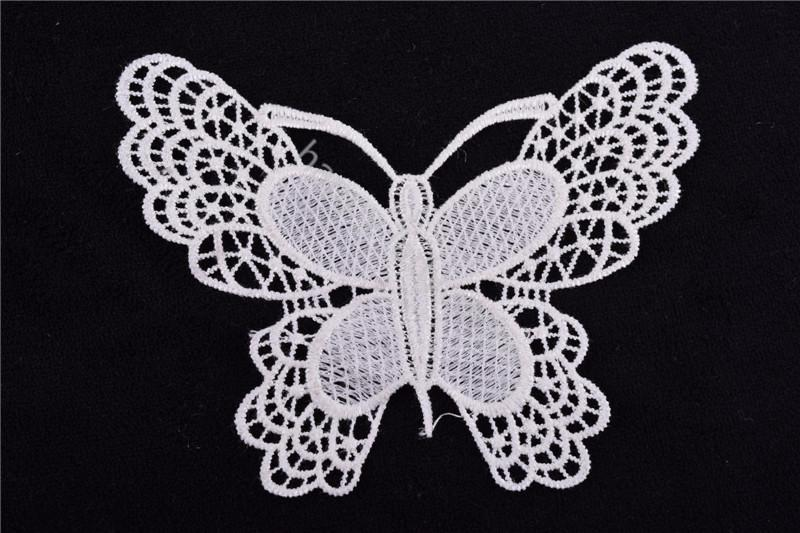 Lilac butterfly ivory triangle venise lace appliques