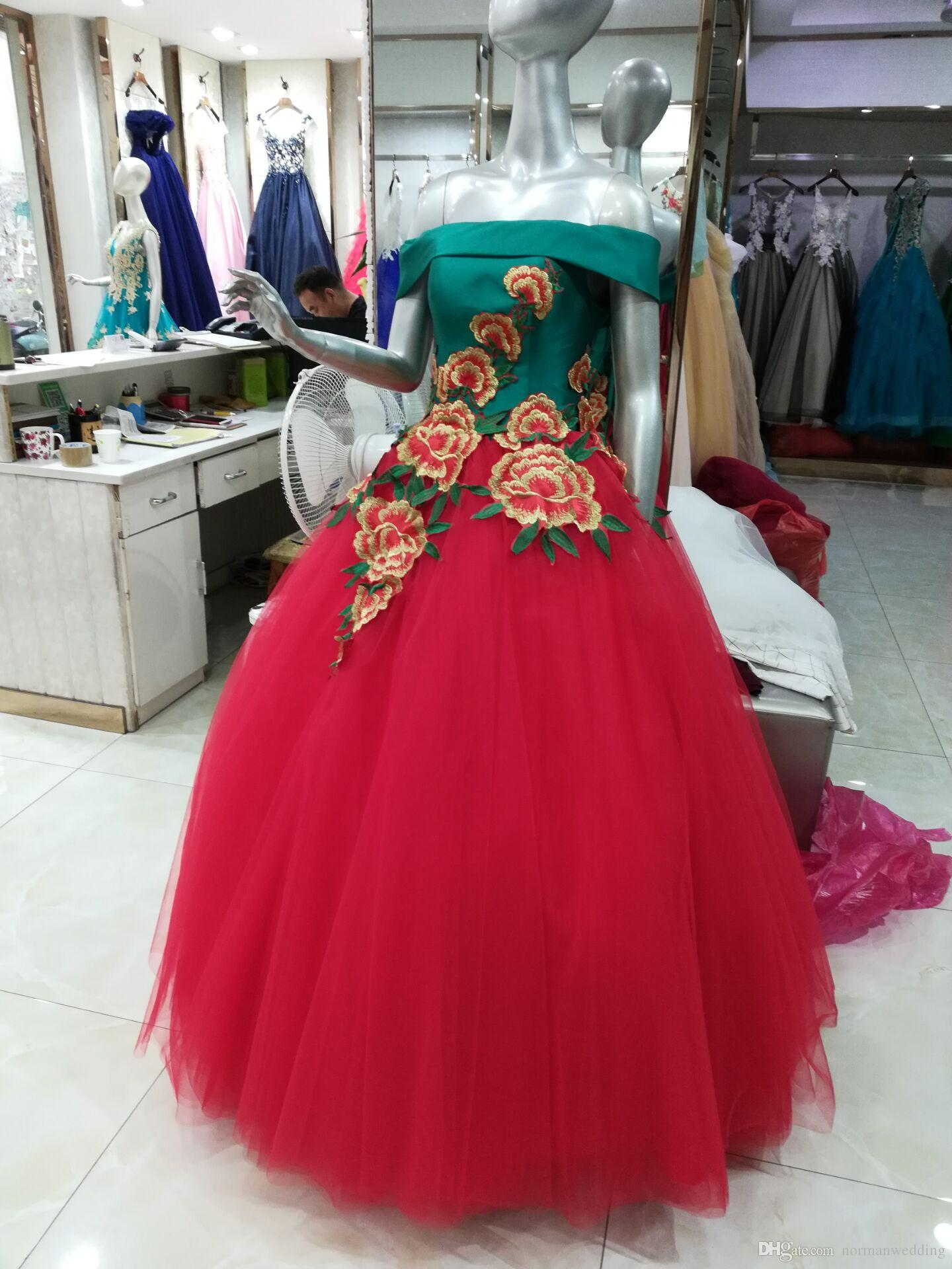 57e8d1fd181 Real China Red Embroidery Ball Gown Quinceanera Dresses Corset Off ...