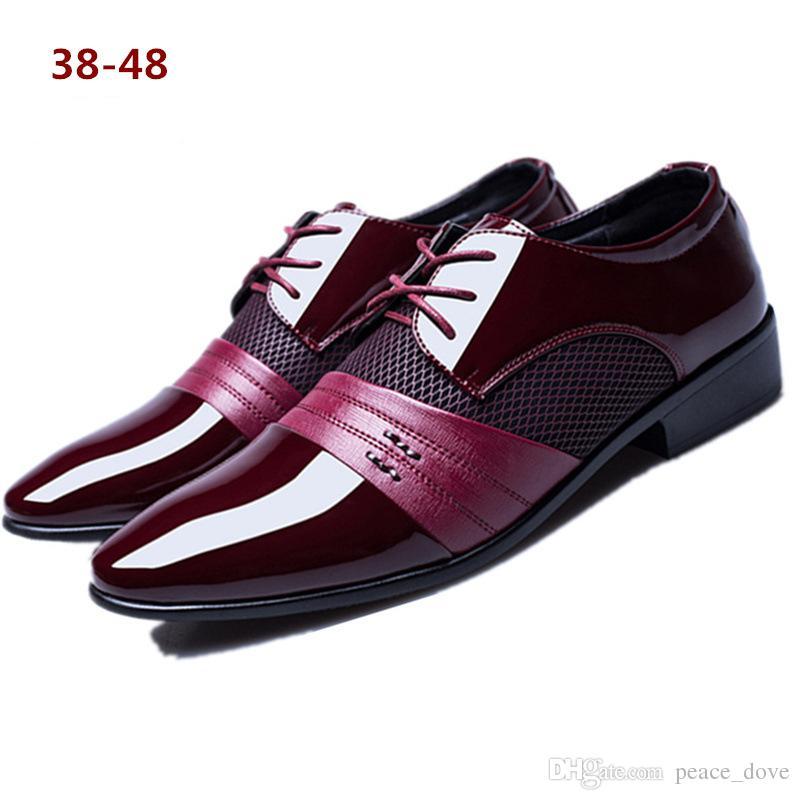 a21c2d06 Compre Zapatos Italianos Para Hombres, Elegantes, Hombres, Zapatos,  Hombres, Boda, Negocios, Suitso, Charol Negro, Tamaño Grande, Color Burdeos  47 48 ...