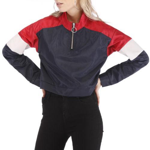 4bf4a2b29e9d UK Women Lady Half Zip Coats Blazer Flight Casual Top Coat Outwear ...