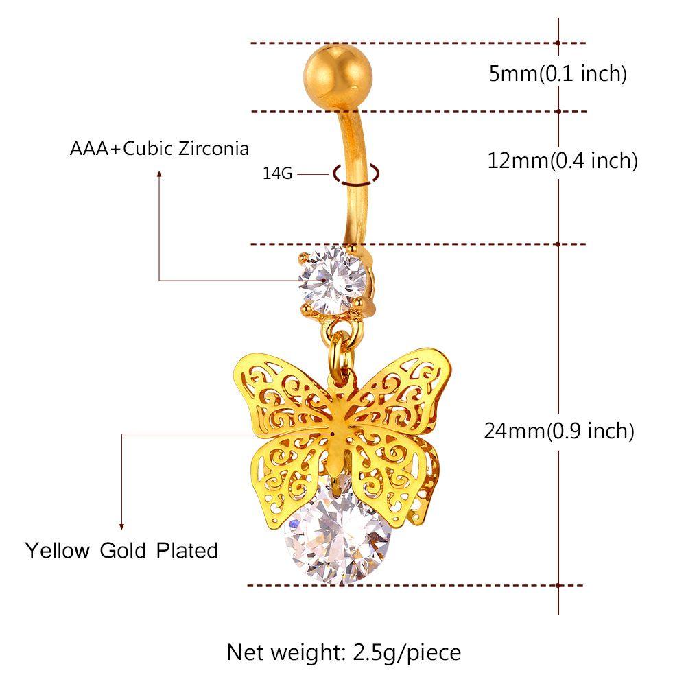 Collare Vintage Göbek Düğme Halkalar Kristal Kelebek Kadınlar Navel Piercing Altın / Gümüş Renk Kadınlar Vücut Takı DB132