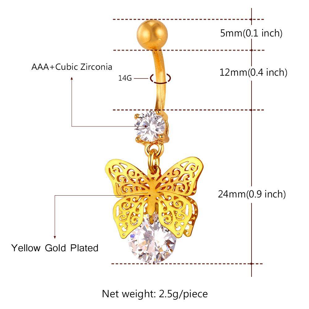 Ombligo collare vendimia DB132 joyería de los anillos de cristal con la mariposa mujeres perforación del ombligo oro / plata Color de cuerpo de las mujeres