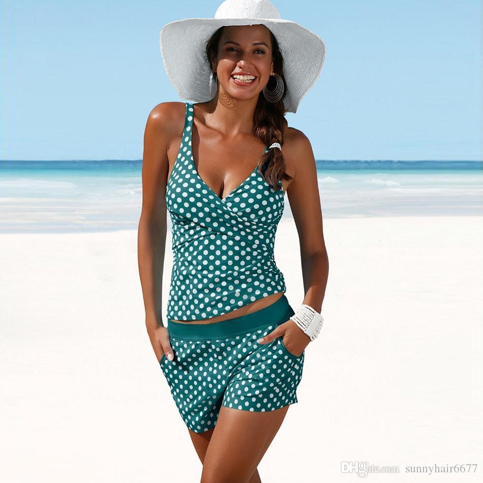 ddc3feaef39 2019 2018 New Plus Size Swimwear Women Swimsuit Two Pieces Tankini Padded  Bathing Suit Polka Dot High Waist Bikini Set Beachwear 983 From  Sunnyhair6677