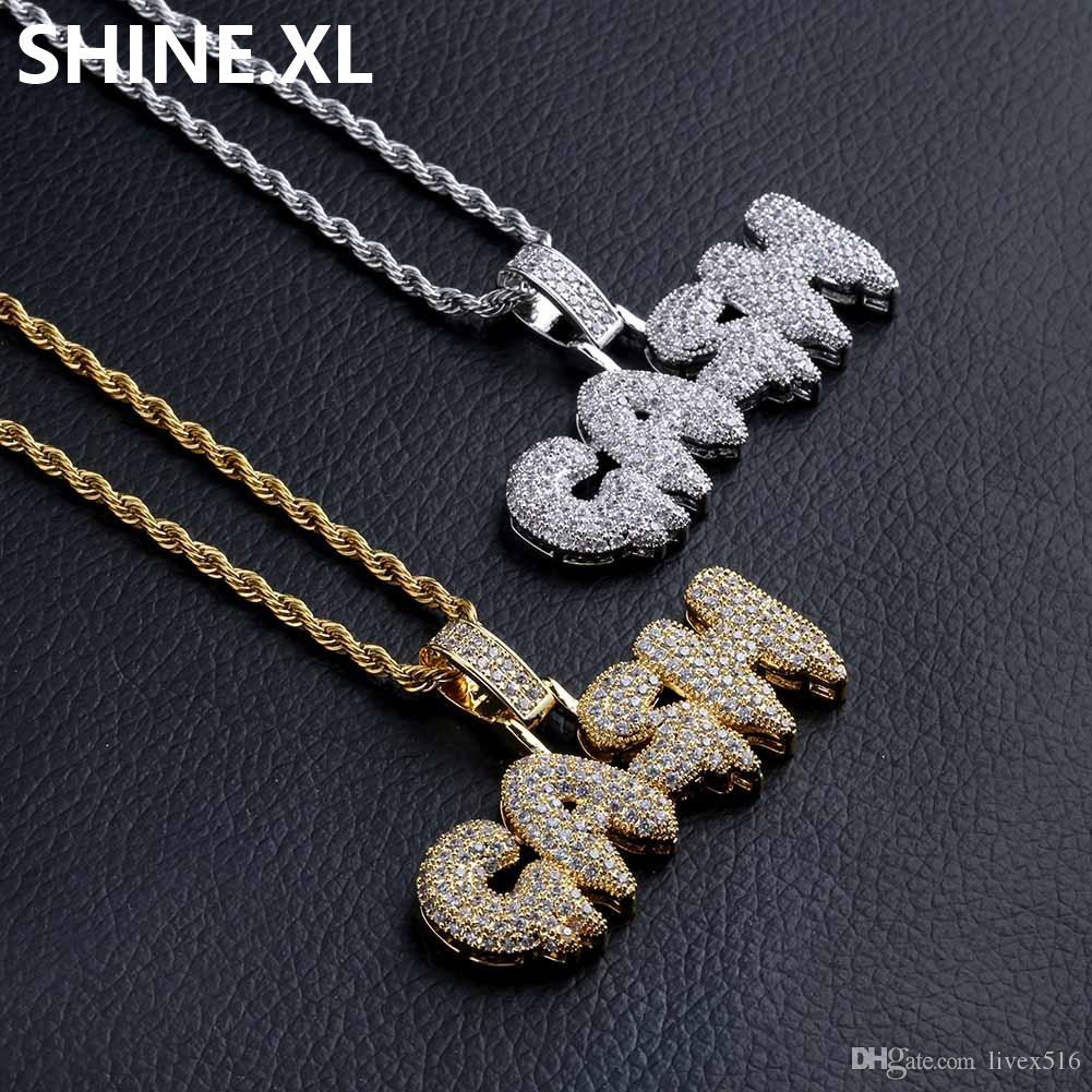 Iced Out Gold Silver GANG Letter Pendant Necklace Hip Hop Jewelry with 24 Inch Rope Chain