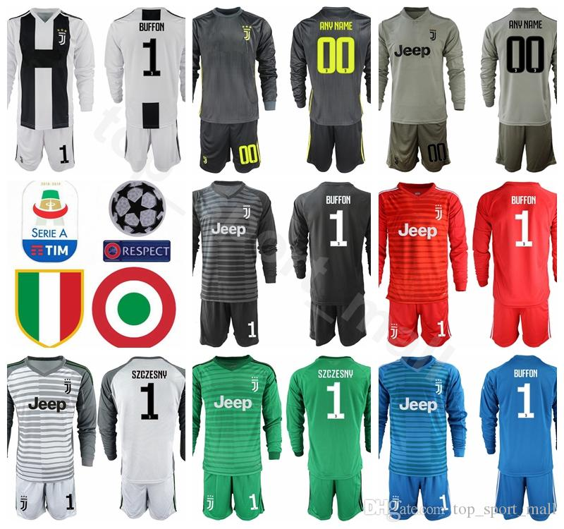 separation shoes eca1f 8c341 Juventus Long Sleeve GK Goalkeeper 1 Gianluigi Buffon Jersey Men Soccer 1  Wojciech Szczesny Football Shirt Kits Uniform Custom Name Number