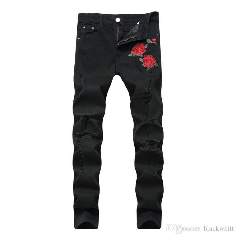 cd62bcf70f4bb New Men s Embroidered Roses Denim Black Hole Pants Slim Stretch ...