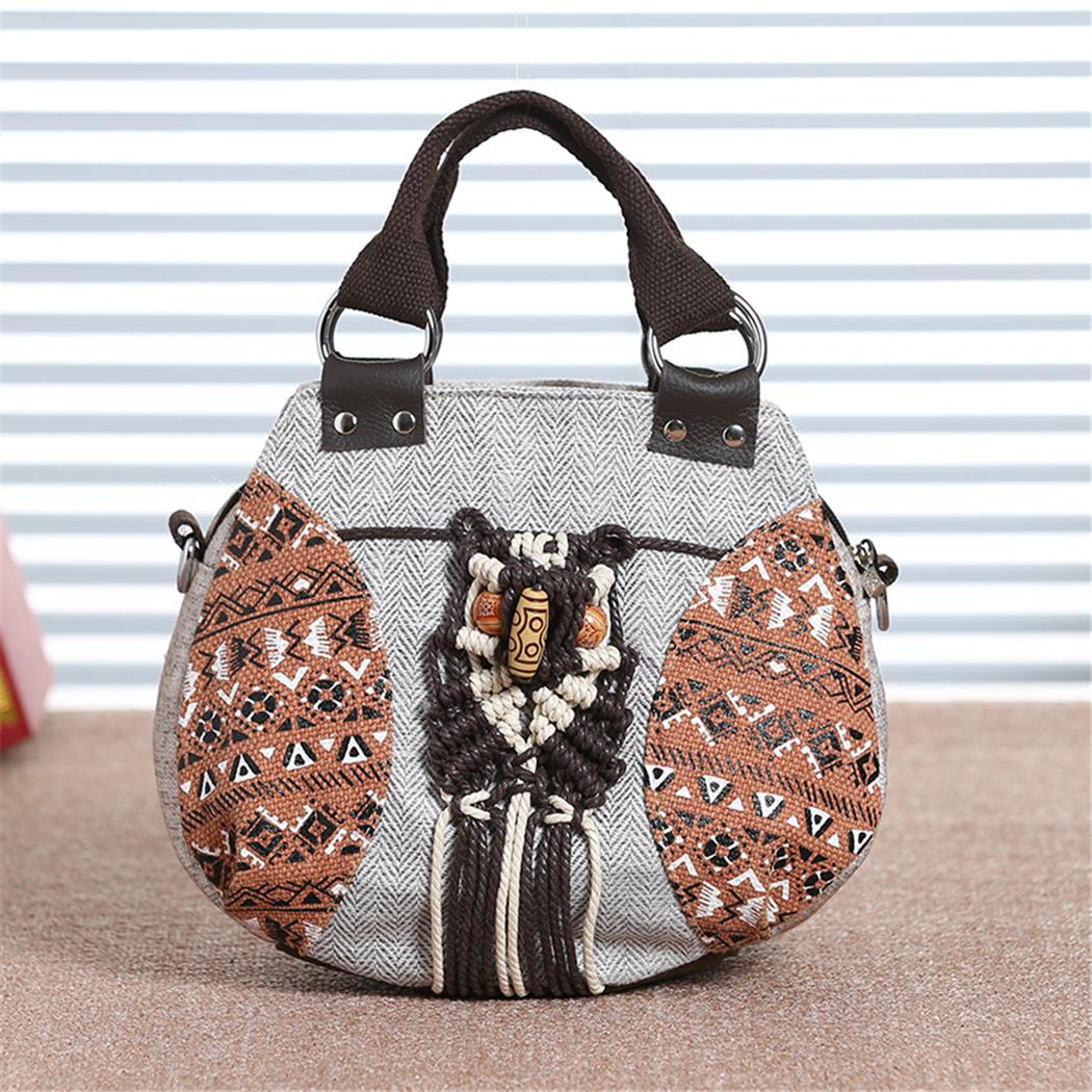 01d19a9019 2018 Retro Tribe Canvas Women S Handbag Vintage Hobo Style Beads Small  Messenger Crossbody Bag With Top Handle Female Tote Purse Leather Purses  Cheap ...