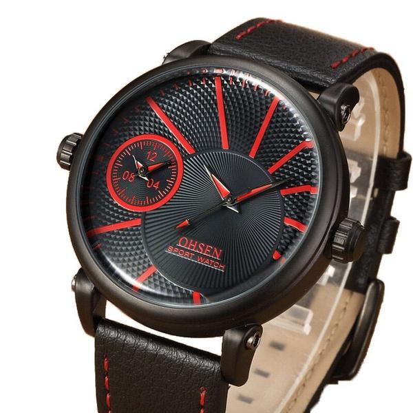 6a2529e9f20 Compre OHSEN Marca Sports Relógios Preto Pulseira De Couro Vermelho Banda  Digital Militar Quartz Watch Quartz Relógio De Pulso Dos Homens De  Kangaroo