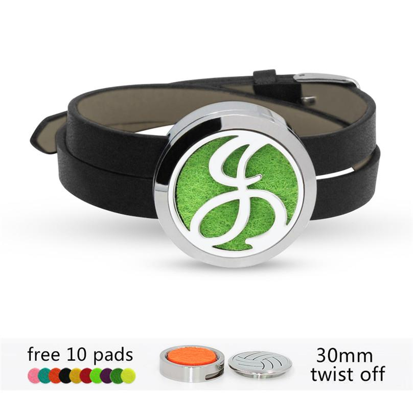 TW161-TW179 English alphabet G-Z stainless twisted-off silver essential oil  aroma diffuser locket bracelet with PU leather band