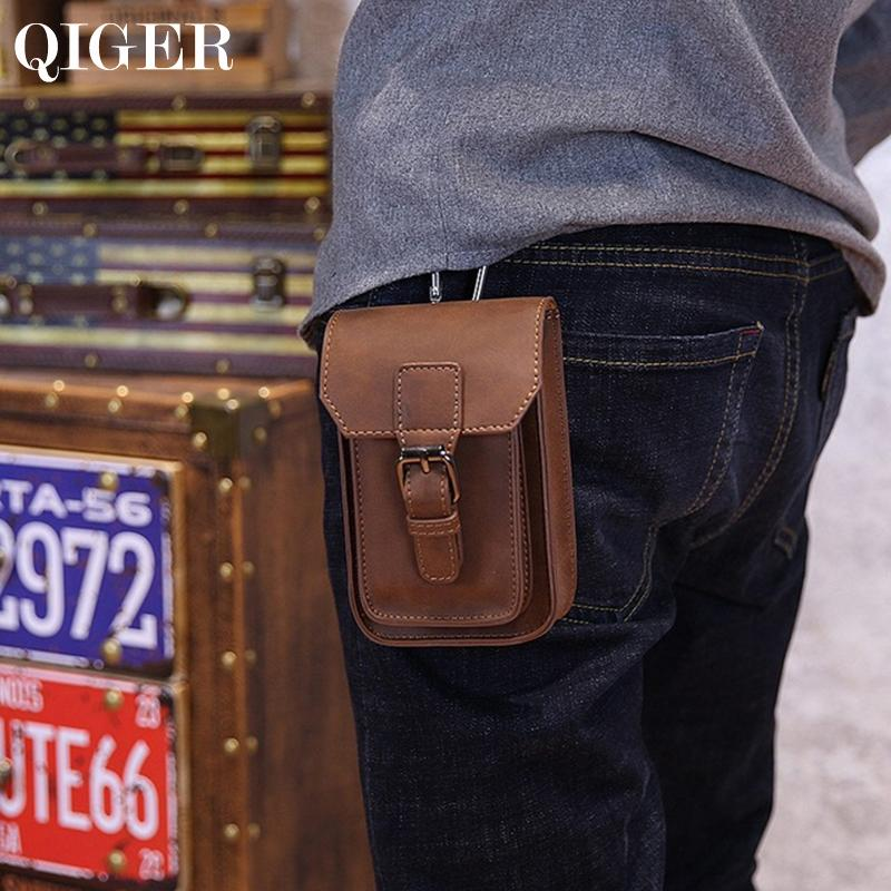 Qiger 5.5 Inch Crazy Horse Leather Mens Waist Bag Pouch Belt Hook Loop Bags Cigarette Key Case Money Phone Bag