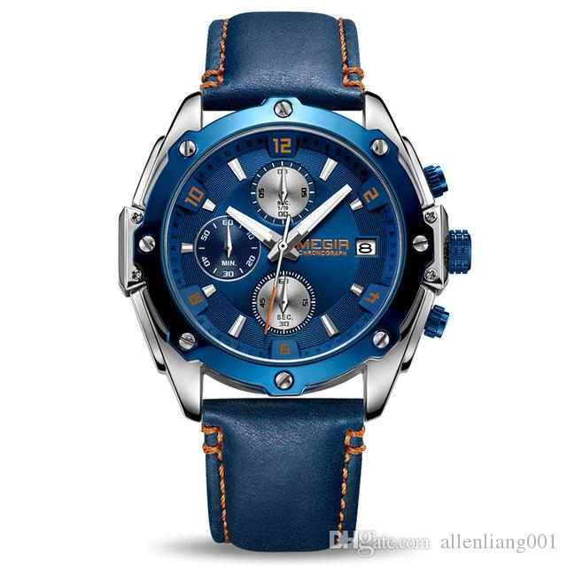 MEGIR Chronograph Men Watch Blue Leather Business Quartz Watch Clock Women Wrist Watch Creative Army Military Wrist Watches 2074