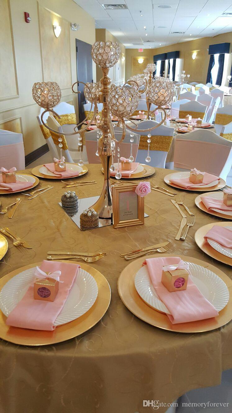 5-arms Metal Gold Plated Crystal Candelabras Candle Holder Wedding Decoration Table Centerpiece Romantic Candlelight Candlestick Stand