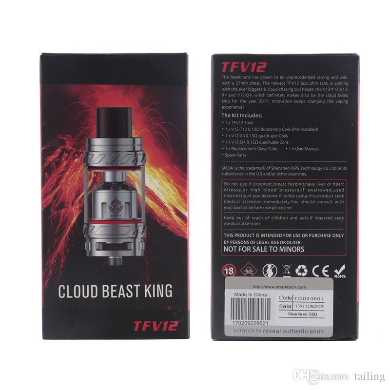 2018 TFV12 Tank Cloud Beast King 6.0ml Top Refilling Sub Ohm TFV 12 Atomizer Fit V12-T12 V12-X4 V12-Q4 Coils 0266118