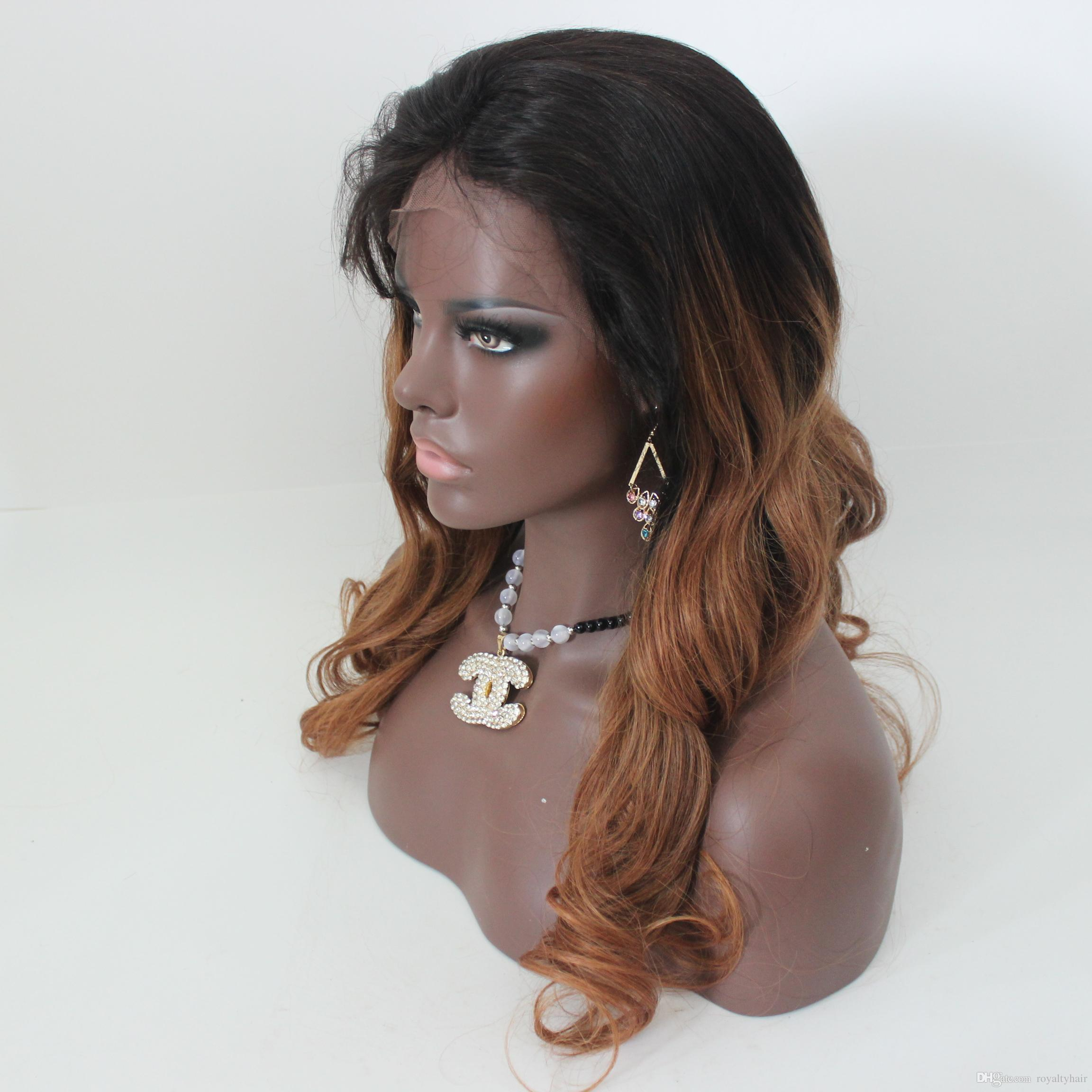 Peruvian Loose Wave Ombre Lace Wig Full Lace Human Hair Wigs Weave Hair Wig #1b #30 Two Tone Color Queen Hair Products