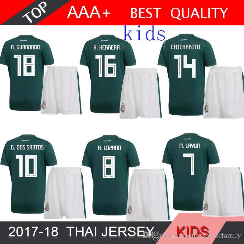 2017 Mexico Kids Soccer Jerseys Child Youth Boys Uniform Green Kit ... 3d1ebebb5