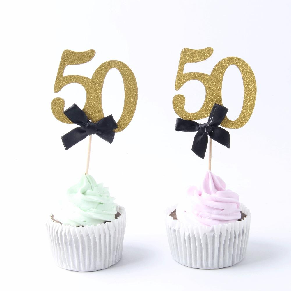 2018 Gold 50 Years Birthday Cupcake Cake Toppers Bow Tie Picks Adult Party Decorations Supplies 50th From Shuishu 2236