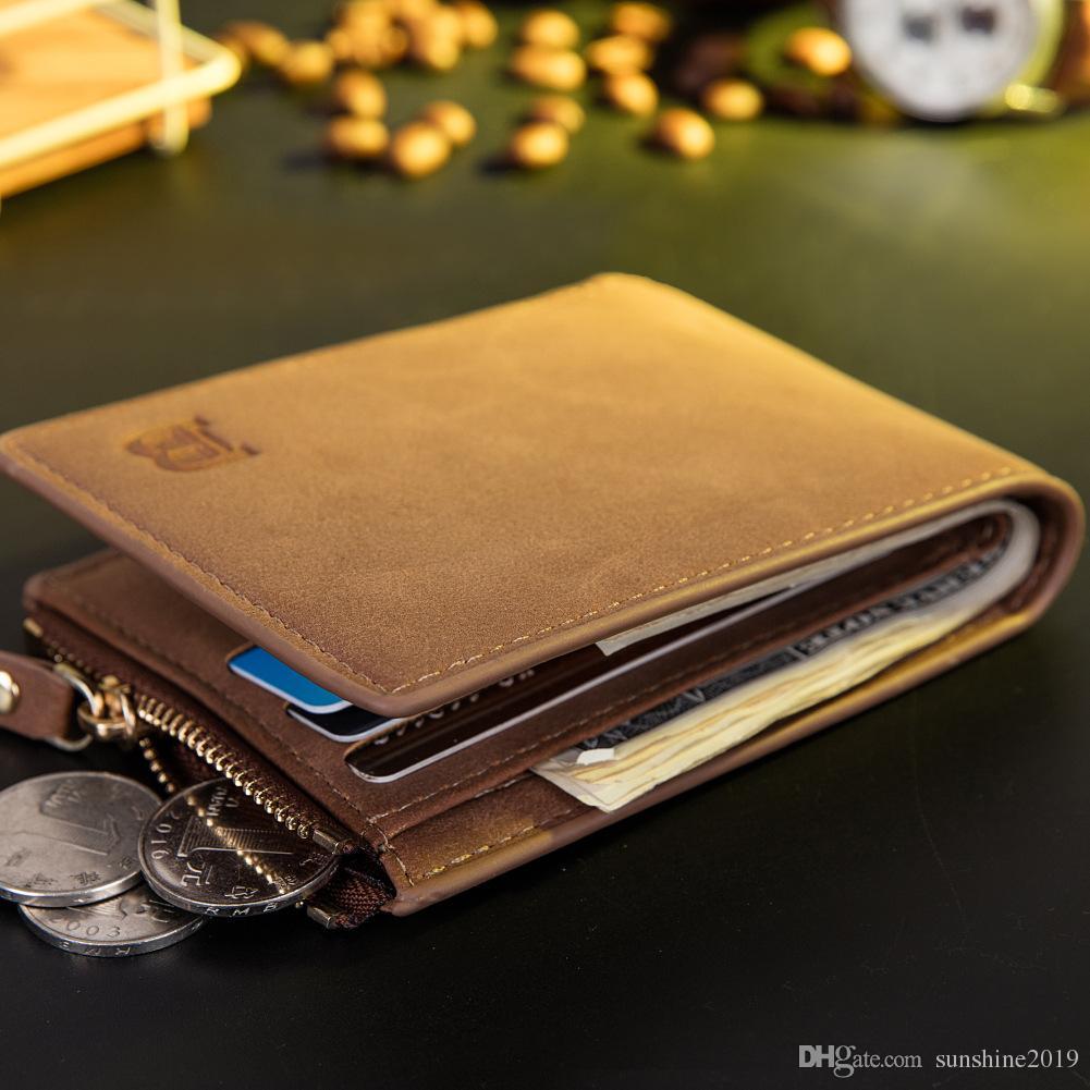 2018 fashion Vintage Men Leather Brand Luxury Wallet Short Slim Male Purses Money Clip Credit Card Dollar Price Ultra Thin wallet