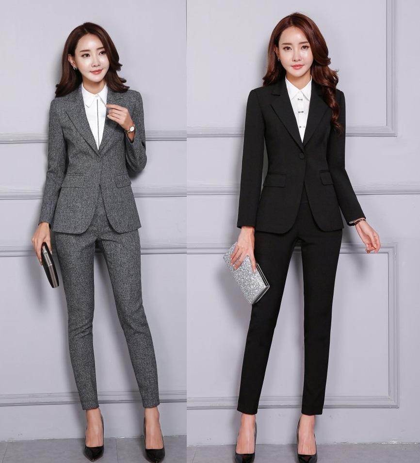 b427af734 Otoño Invierno Moda formal Blazer negro Trajes de negocios para mujer  Conjunto de pantalón y chaqueta Elegantes diseños de uniformes de oficina  ...