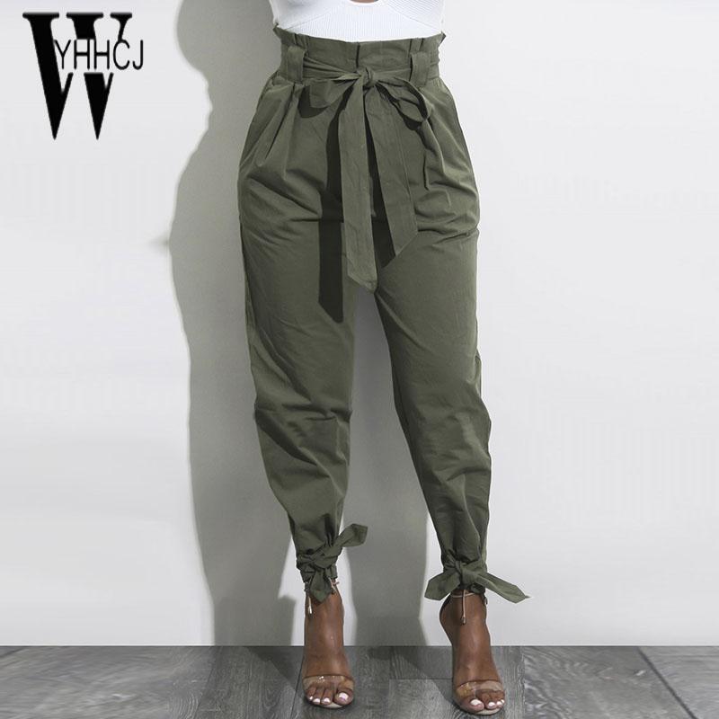 71dd5ce0472c0 Acheter WYHHCJ 2018 Nouveau Pantalon Décontracté Taille Haute Femme Pantalon  Solide Poches À Cordon De Serrage Sarouel Pantalon Pantalon Femme Pantalon  ...