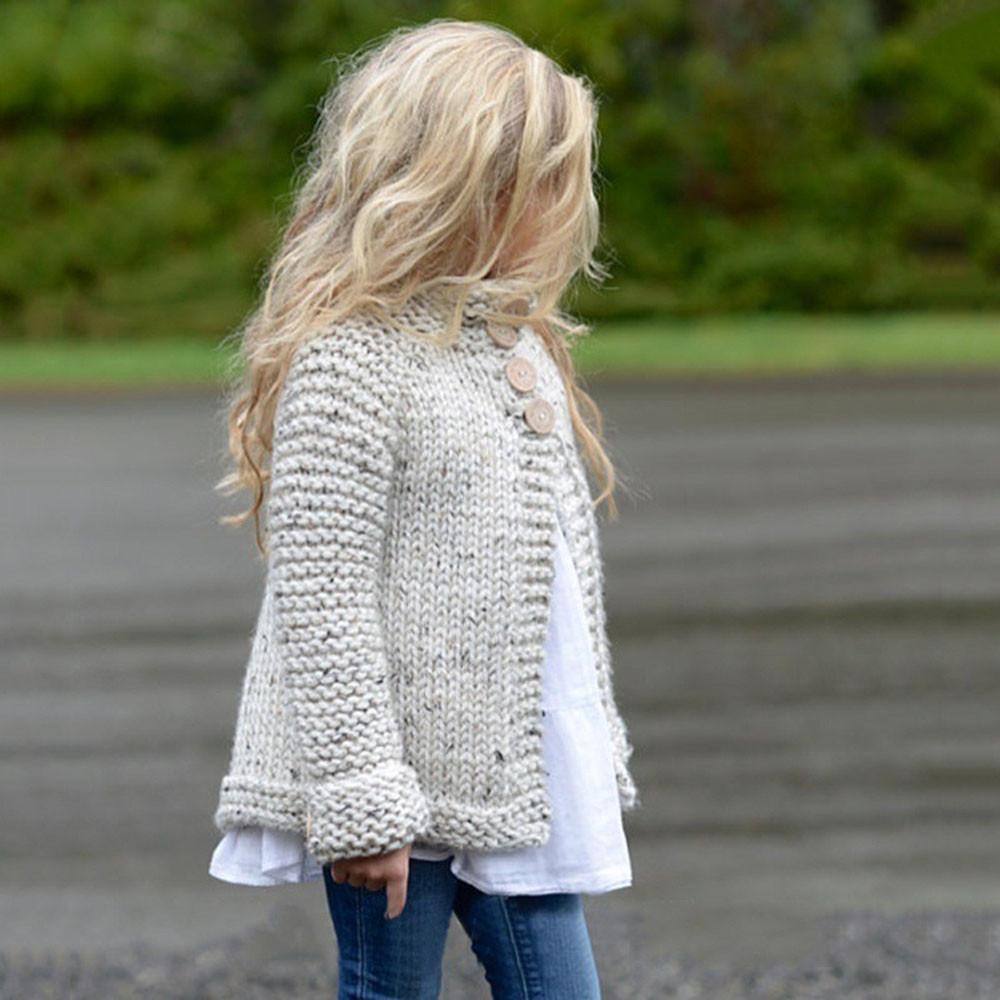 Girl\'S Plain Coloured Knit Sweater Cardigan Toddler Kids Baby Girls ...