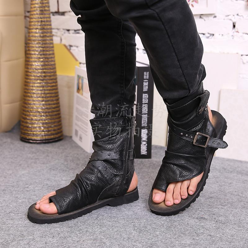 fc5eae63172b 2018 New Men Shoes Fashion Summer Beach Rome Casual Rivet Sandals Handsome Flip  Flops Genuine Leather Mixed Colors Ankle Booties Men Sandals Heeled Sandals  ...