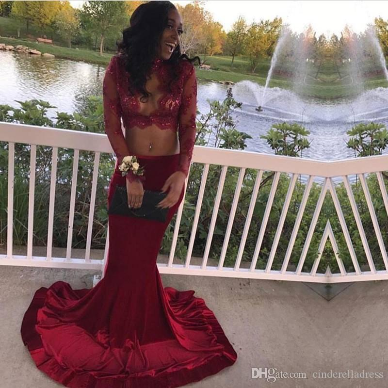 Dark Red High Collar Lace Sheer Top Prom Dresses 2018 Black Girls Long Sleeves Applique Sequin Mermaid Evening Gowns