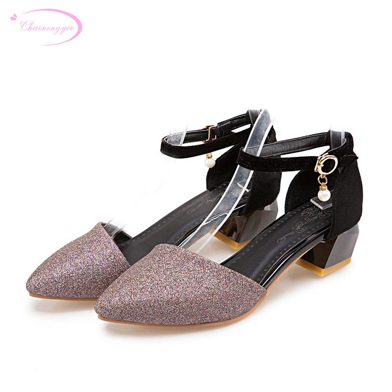 Wholesale Party Sexy Pointed Toe Summer Sandals Fashion Mixed Color Studded  Red Gold Purple Thick Middle Heels Women Shoes Knee High Gladiator Sandals  ... 8ed05b0b8d64