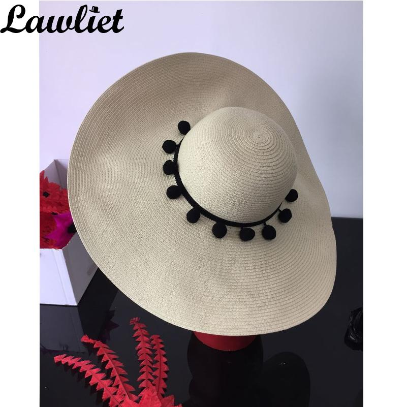 51605f55a05 18cm Large Wide Brim Hat For Women Paper Straw Hat Pom Pom Trim Silk  Bohemian Style Floppy Sun Beach UV Protection Sombrero Kids Hats Wide Brim  Hat From ...