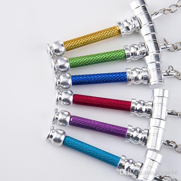 DHL Metal Pipe Colorful Key Buckle Smoking Pipe Pen Pipe Mini Smoking Metal Pipes 12pcs display card Magic Tobacco Smoke