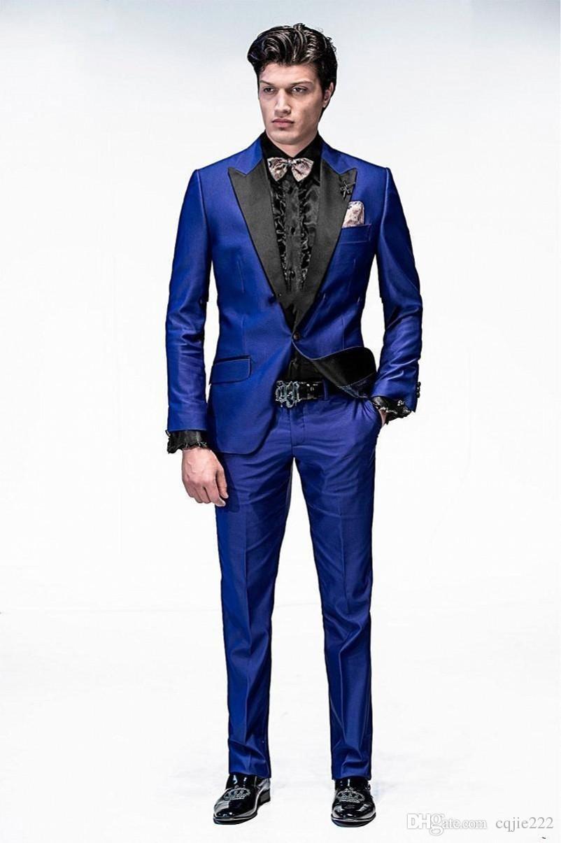 2018 새로운 잘 생긴 하나의 버튼 로얄 블루 신랑 턱시도 피크 옷깃 신랑 남자 웨딩 턱시도 저녁 댄스 모드 정장 자켓 + 바지 + 넥타이