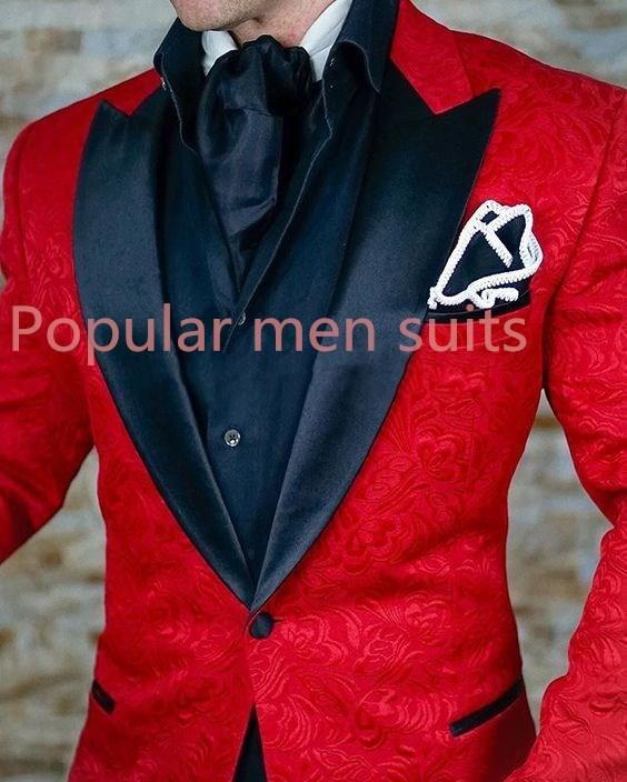 b07eba71554 POPULAR 2018 Custom Made Men Suit Red Jacquard Tuxedo Party Dress ...