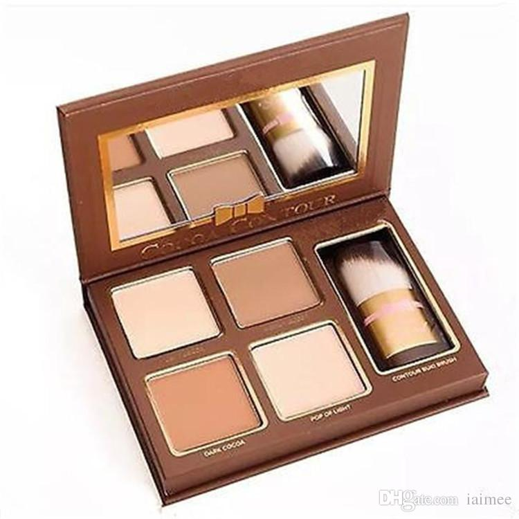 حار COCOA كونتور كيت 4 ألوان Bronzers تمييز مسحوق لوحة عارية اللون لامع عصا مستحضرات التجميل الشوكولاته ظلال مع فرشاة
