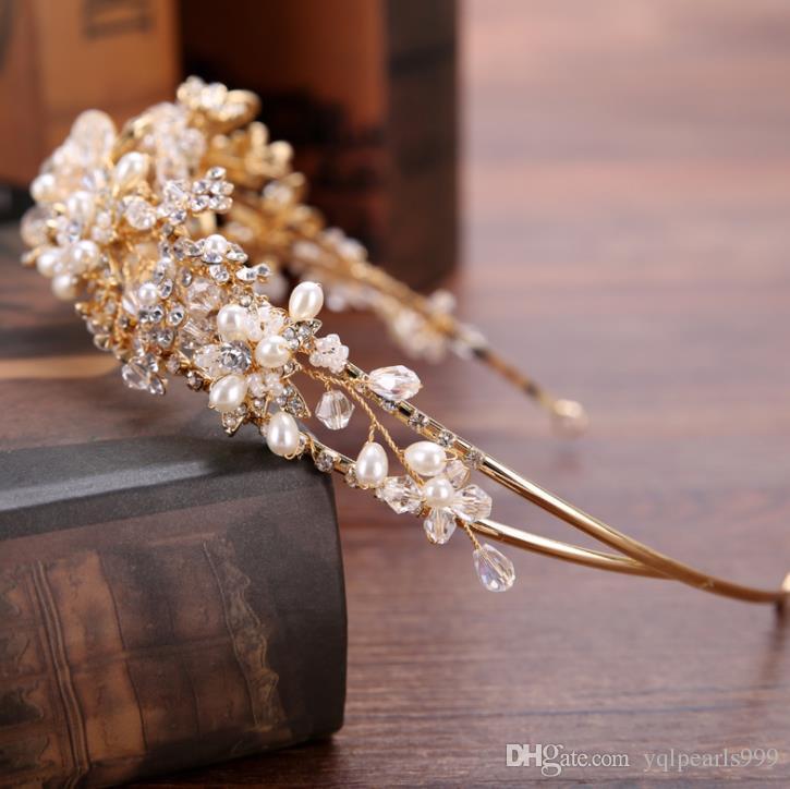 Bridal Headband hoop, golden flower, handmade pearl drill, headband, hair band.