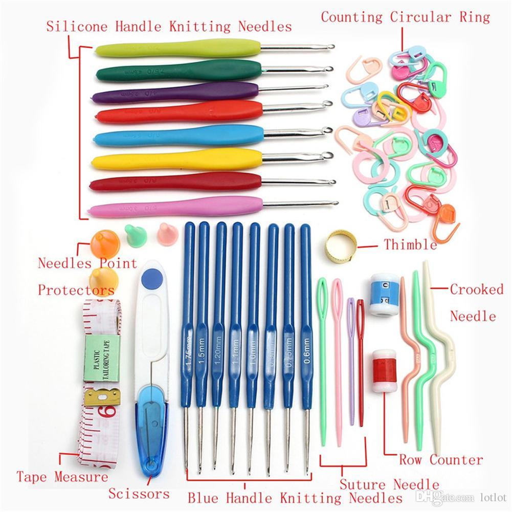 of Crochet hooks sewing accessories Knitting Tools 16 sizes Crochet hook Needles Stitches knitting Craft Case crochet set