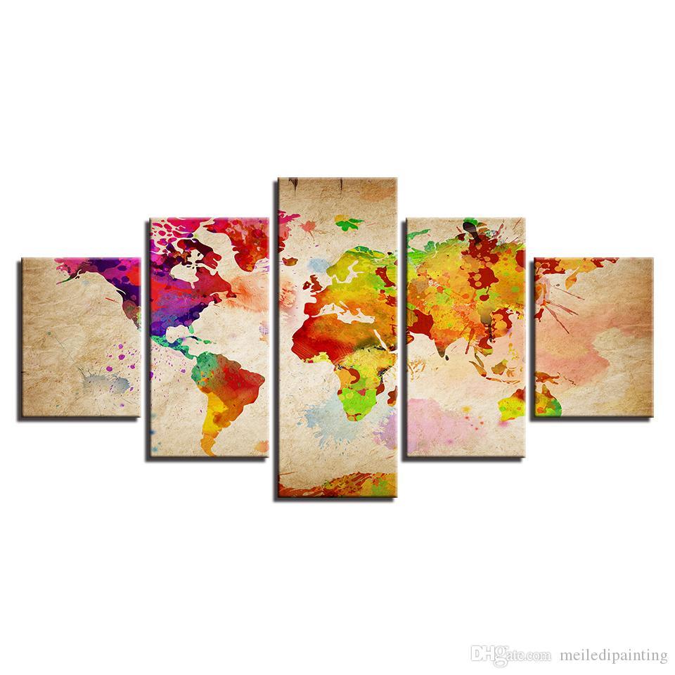 Colorful World Map Art.2019 Amosi Art Wall Art 5 Panels Abstract Colorful World Map Canvas