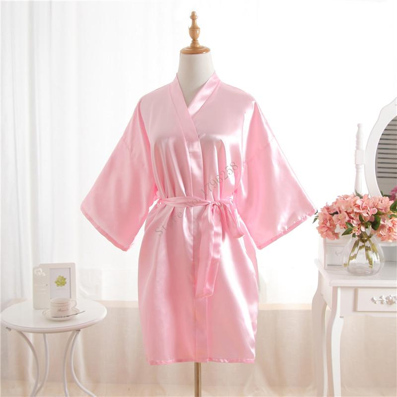 b885859322 2019 Hot Women Robe Pink Silk Satin Robes Wedding Bridesmaid Bride Gown  Kimono Solid Robe One Size Fit S XXL From Volontiers