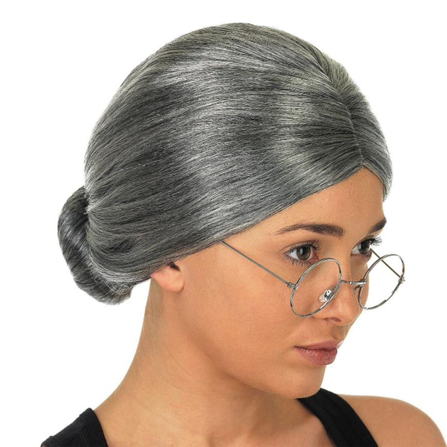 Grosshandel Alte Dame Oma Oma Graue Bun Hair Grand Mutter Kostum